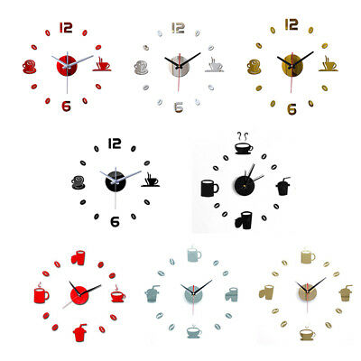 Acrylic DIY Wall Clock 3D Self-adhesive Sticker Home Office Kitchen Decor NFE