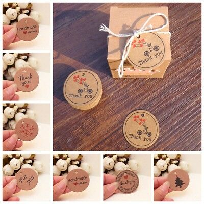100pcs Thank you with Red Heart Kraft Gift Tags Paper Hang Tags Price-Label~~