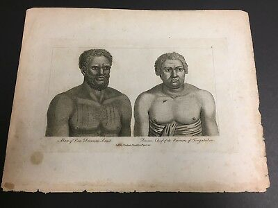 copper engraving plate, antique South Seas 1800 TWO SOUTH PACIFIC MEN