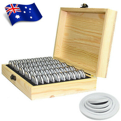 AU Wooden Coins Storage Container Collection Box Case + 50 Round Capsules Holder