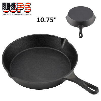 Cast Iron Skillet Oven Fry Pan Pot Cookware For Deep Frying Kitchen BBQ Cooking