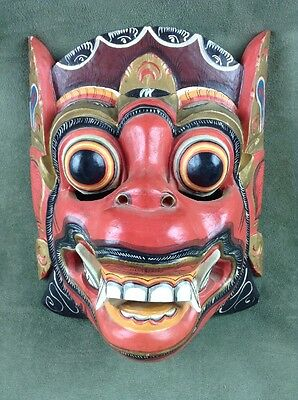 """Balinese Wooden Barong Lion Mask Hand Carved Hand Painted Wood Bali Decor 9"""""""