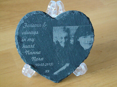 For Memorials Slate Engraved Heart with Stand.Personalised photograph onto stone