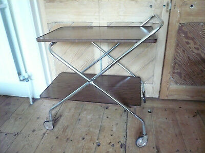 Vintage Trolley Collapsible Chrome and Wood Laminate Mid Century