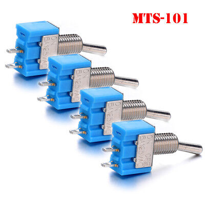 4Pcs 2 Pin SPST ON-OFF 2 Position 6A 125V AC Mini Toggle Switches MTS-101 Kit