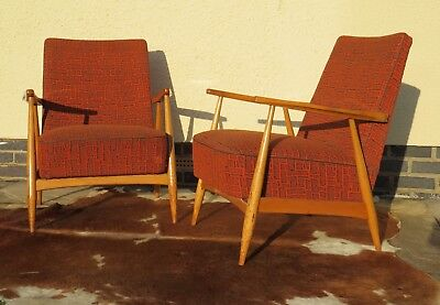 Pair Of Mid Century East German / Danish Style Lounge Armchairs Oct18-