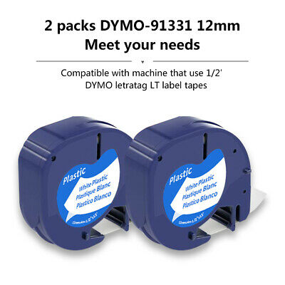 3PK 91331 label tape Compatible Dymo label maker 12mm label refill White Plastic