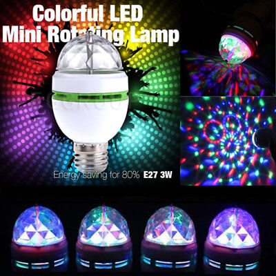 E27 3W RGB Crystal Ball Auto Rotating LED Stage Light Bulb KTV Disco Party Lamp