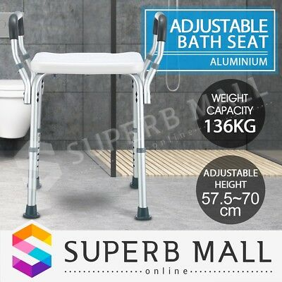 Adjustable Bath Shower Chair Seat Bathtub Armrests Bench Bathroom Safety Aid