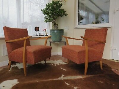 Pair Of Mid Century East German / Danish Style Lounge Armchairs Oct18-17