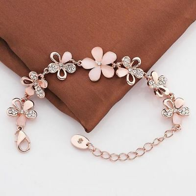 Charming 18K Rose Gold Plated Women Pink Cat's Eye Opal Flower Chain Bracelet