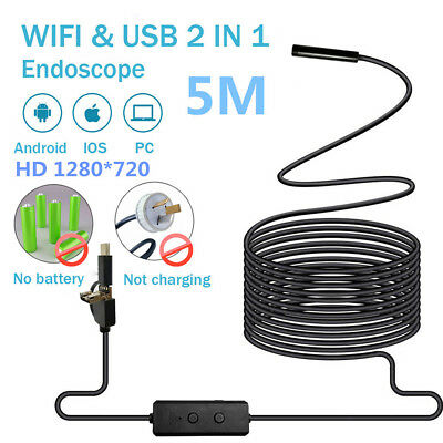 5M Endoscope Camera Wifi&USB For Android IOS PC Inspection Borescope Tube Camera