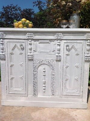 Antique Carved Oak Victorian Sideboard Cupboard Dresser Gothic Revival Style