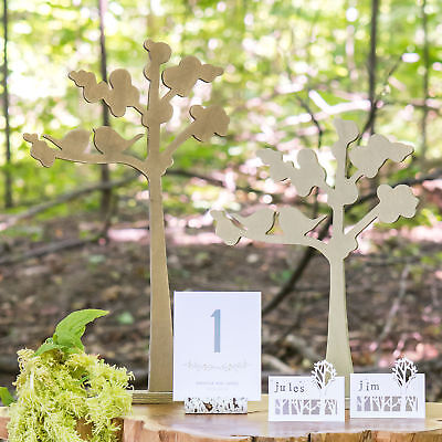 Wooden Die-cut Trees with Love Birds Outline Wedding Centrepiece 2 Pack