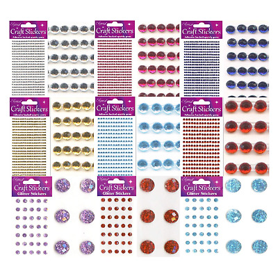 Self Adhesive Rhinestones Gems Flat Back Crafts Sheet Crystal Diamante Stickers