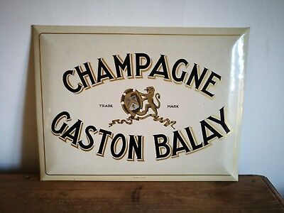Vintage 1950s Gaston Balay Champagne French Advertising Sign 40cm x 30cm