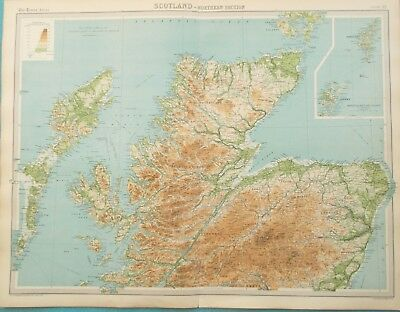 Large Map of Northern Scotland. 1922. PERTH. LOCH NESS. ORKNEY ISLANDS  Original