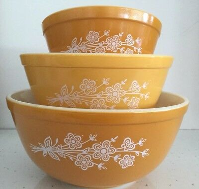 Pyrex Mixing Bowls Butterfly Gold 2