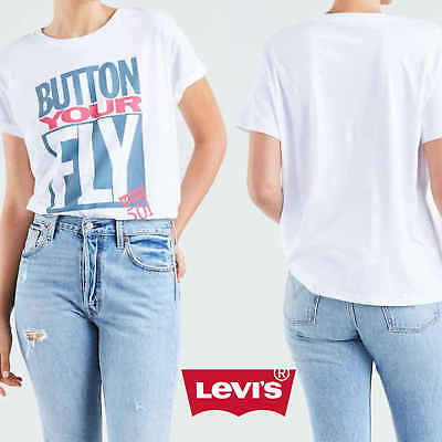 384a5a7f323796 LEVIS DAMEN T-SHIRT Top Shirt Bluse GRAPHIC TEE GIRLS BF WHITE 56580 ...