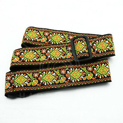 Yellow Black Retro Vintage Floral Jacquard Woven Acoustic Electric New Type