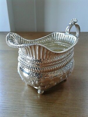 Antique Solid Sterling Silver Chased Cream/Milk Jug London 1814