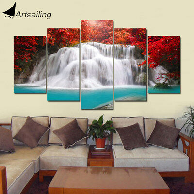 3D Waterfall 5 Panel Art Home Canvas Oil Painting Wall Art Picture Print Decor