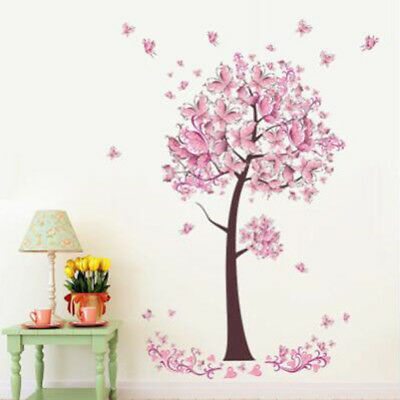 Pink Flower Butterfly Blossom Tree Girl Wall Stickers for Room Ornaments N7