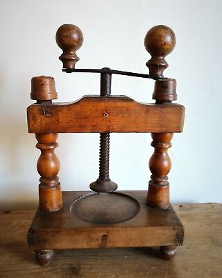 Antique Fruitwood French Kitchen Meat Pate Press - Fully Working
