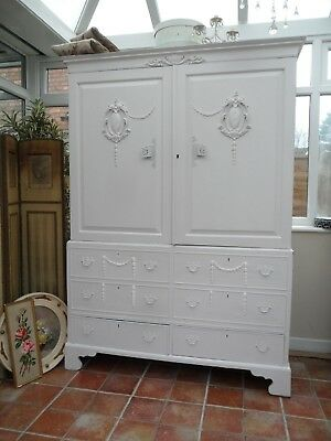 Elegant Vintage Painted French Louis Style Armoire Wardrobe Shabby Chateau Chic