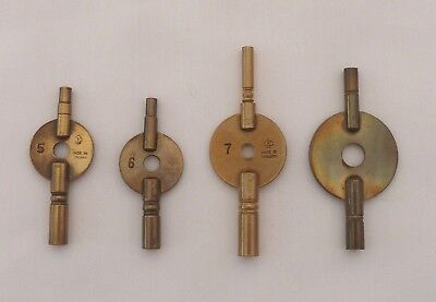 4 Brass Double Ended Carriage Clock Winding Keys