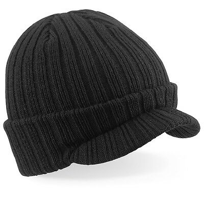 Double Layer Soft Touch BLACK Acrylic Peaked Beanie Ski Warm Hat + Curved Peak