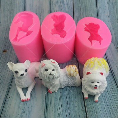 3D Dog Silicone Cake Fondant Sugarcraft Mold Handmade Wax Soap Candle Mould Tool
