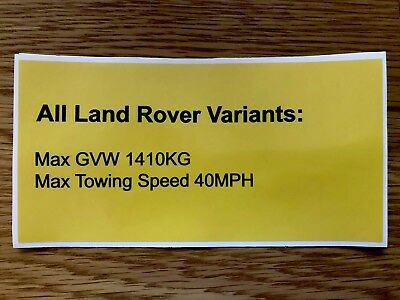 Military Penman Trailer Land Rover Xd Wolf Max Towing Speed 40Mph Sticker
