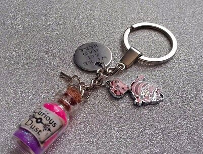 Fabulously Funky Cheshire Cat/ Alice in Wonderland Inspired Keyring Curious Dust