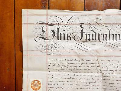 1890 Battersea London 2 page Vellum Deed Indenture signed by Female Pawnbroker