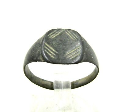 Authentic Medieval Viking Era Bronze Ring W/ Decoration - Wearable - H543