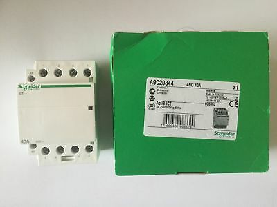 Schneider Din Mount 240V 40Amp Contactor 4 Normally Open Acti9 Ict A9C20844