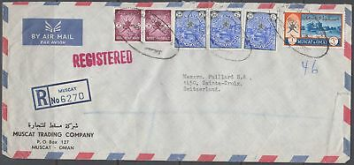1968 MUSCAT OMAN R-Cover to Switzerland, MUSCAT cds, Definitives [bl0453]