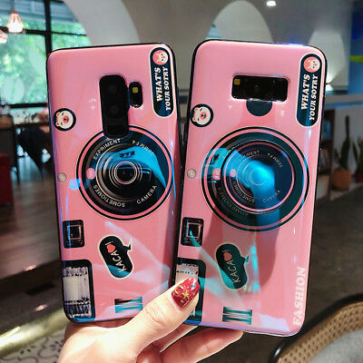 3D Samsung Galaxy S8 S9 Plus Note 8 9 Camera with Holder Grip Relief Cover Case