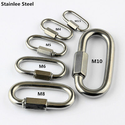 Stainless Steel Carabiner Screw Lock Quick Link Ring Hook Buckle Camping 1-10PCS