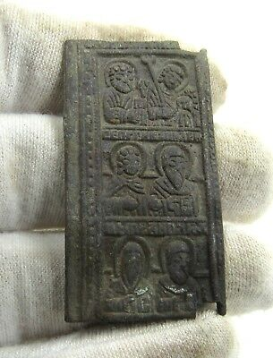 Authentic Late Medieval Era Bronze Icon W/ Saints - H561