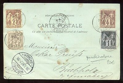Affranchissement ( quadricolore ) de Paris sur carte postale en 1898 - N383