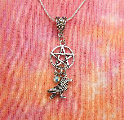 Raven & Pentacle Necklace, AB Crystal Aurora Borealis Wicca Charm Pendant 16-36""