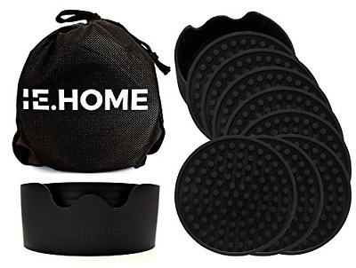 IE.HOME Silicone Coaster Set | 8 Large Silicone Drink Coasters + 1 Holder + 1 -