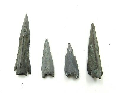 Authentic Lot Of 4 Ancient Scythian Bronze Arrow Heads - H603