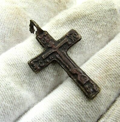 Authentic Late Medieval Bronze Cross Pendant - H610