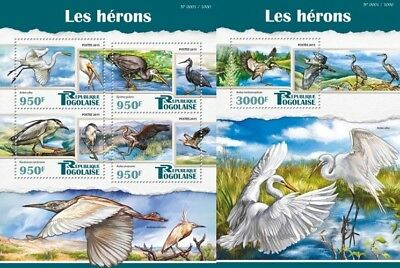 Z08 Imperf TG15510ab Togo 2015 Herons Uccelli Uccello Oiseaux MNH Set