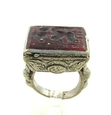 Authentic Post Medieval Silver Ring W/ Intaglio Carnelian Warrior - H617