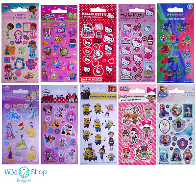 Childrens Character Stickers 6 Sticker Sheets Fun Party Pack Loot Bag Fillers