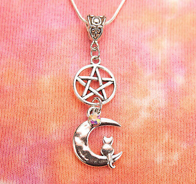 Cat Crescent Moon Pentacle Necklace, AB Crystal Aurora Borealis Charm Pendant